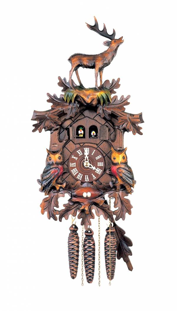 Double door musical Cuckoo clock adorned with Owls and Stag