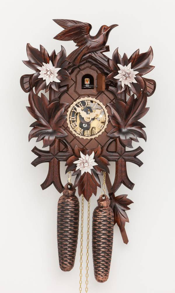 Cuckoo clock with Edelweiss flowers