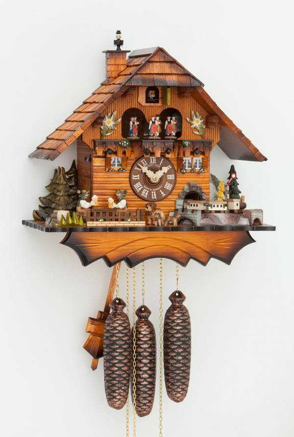 Cuckoo clock with train, chimney sweep and beer drinker