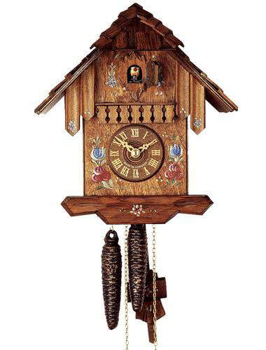 Cuckoo clock with hand painted flower motif