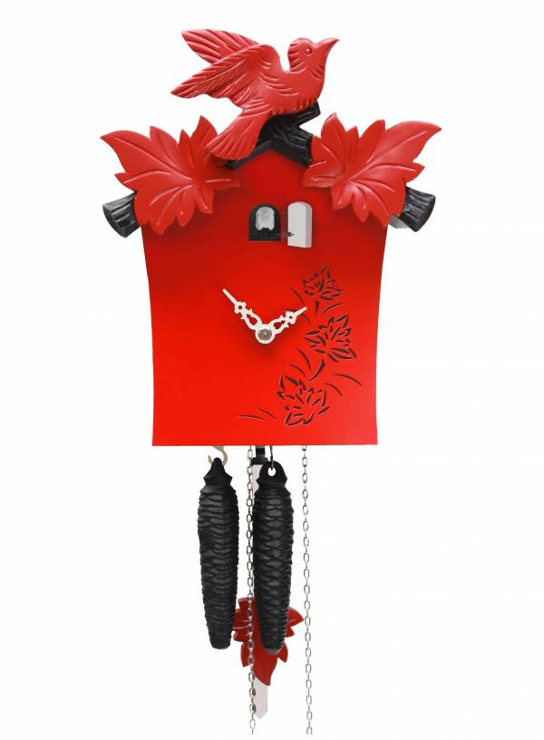 Modern day red Cuckoo Clock  'Bunt' range