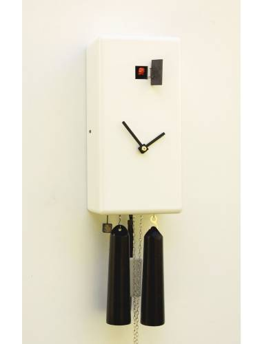 Simple line white Cuboid Cuckoo clock