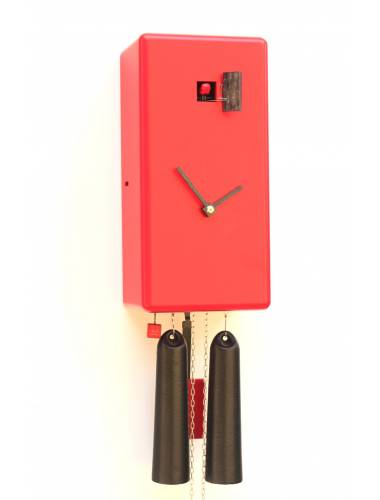 8 day Simple line red Cuboid Cuckoo clock